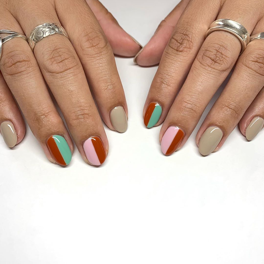 In Love Inspired By One Of My Faves Bluesy Nails Madam Glam Mochaccino For Beige Green Pink Are Also Beautiful Nail Designs Valentines Nails Nails