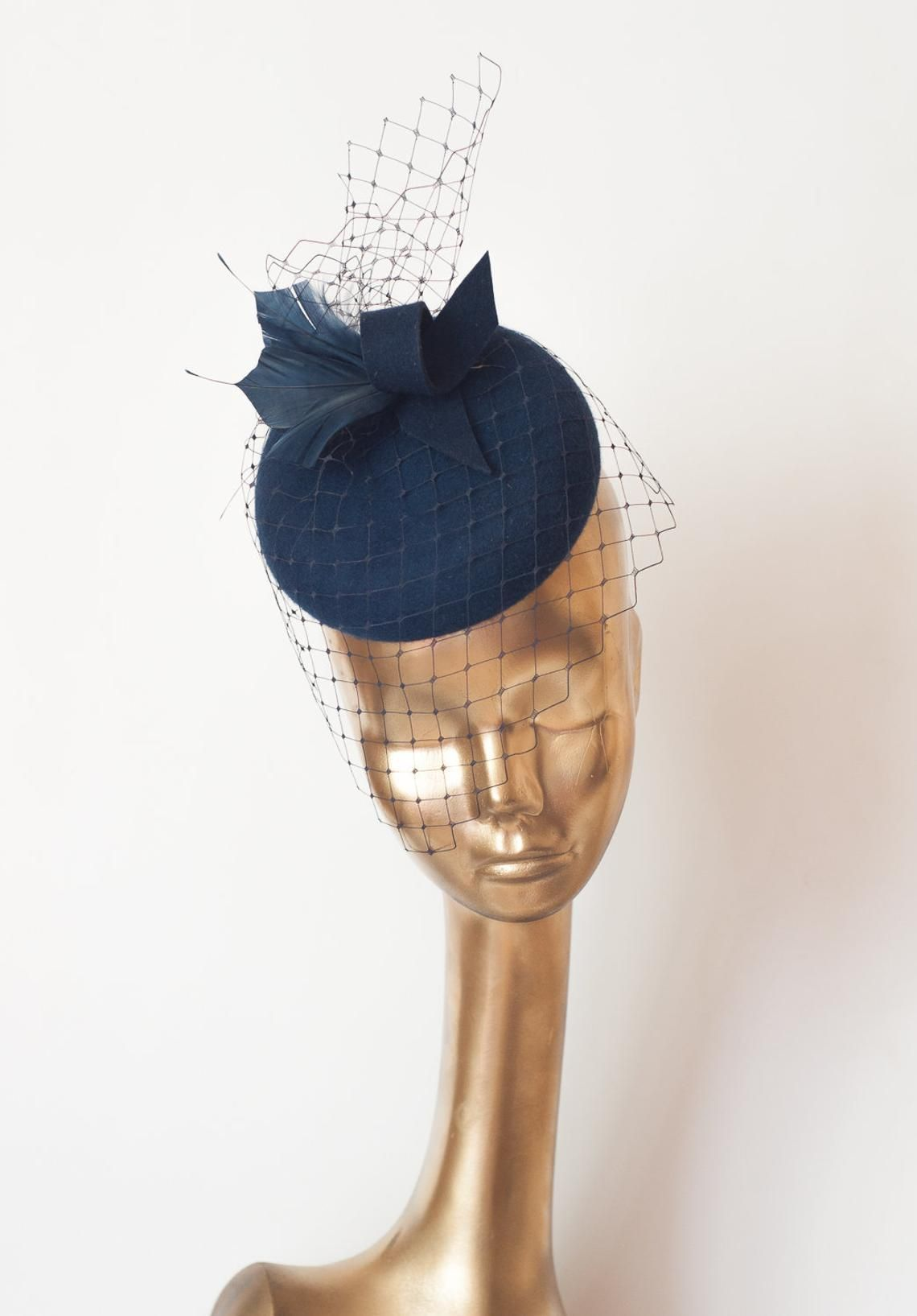 9e75b04b0078e Unique Modern Navy Blue FELT FASCINATOR with Veil and Feathers ...