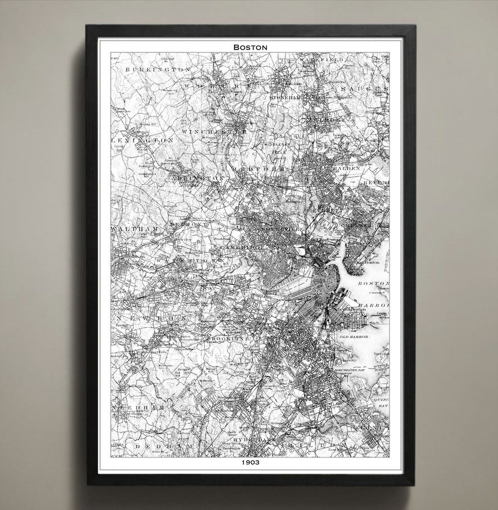 Poster Prints, Boston Map, Denver Map