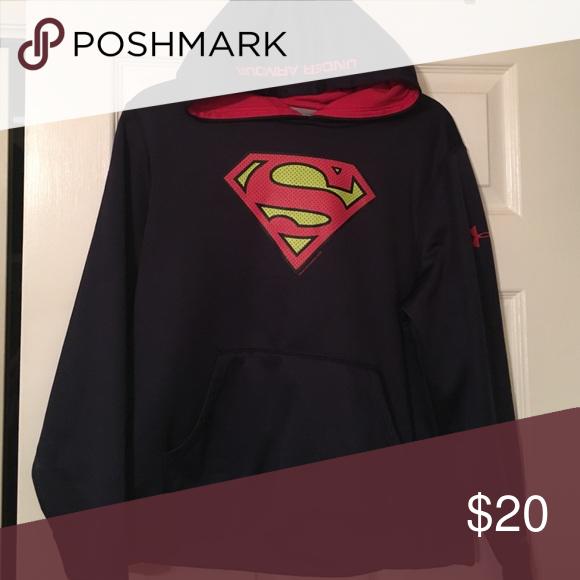 4dfb29d4c8e3 Boys UA Superman hooded sweatshirt Good condition. Under Armour Shirts   Tops  Sweatshirts   Hoodies