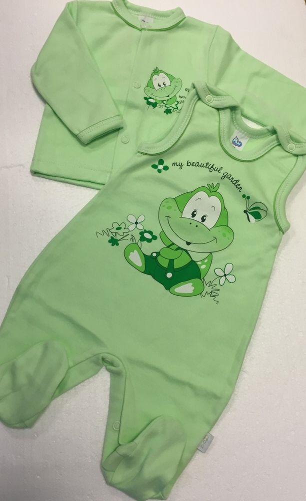 Set Baby Strampler Jacke  Junge Baumwolle Erstausstattung Grün  Gr. 50 52 56 EU