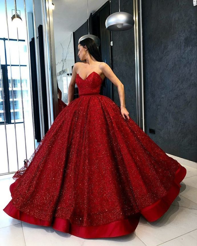Burgundy High Quality Ball Gown Amazing Wine Red Sequin