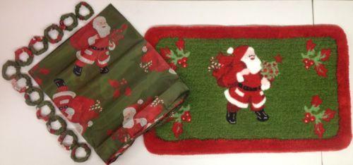 Santa Claus Christmas Shower Curtain And Rug Set Santa Claus