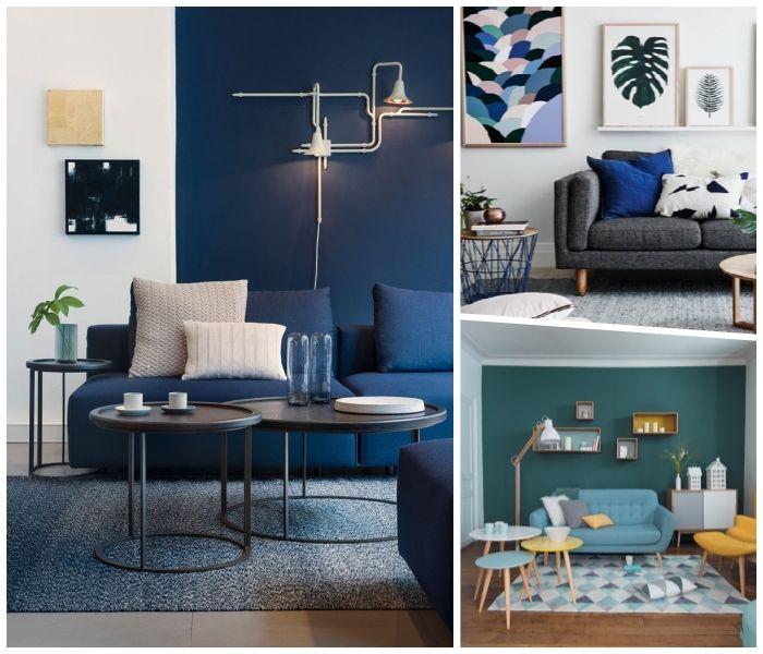 Deko Wohnzimmer Modern, Blaue Wände, Deometrische Wandlampen,  Einrichtungsideen