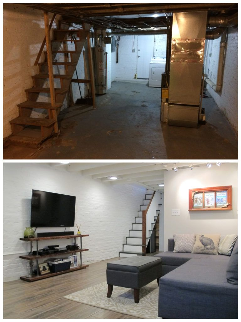 Cozy Chic Basement Reno with Exposed Painted Joists & Wood Tile Floors