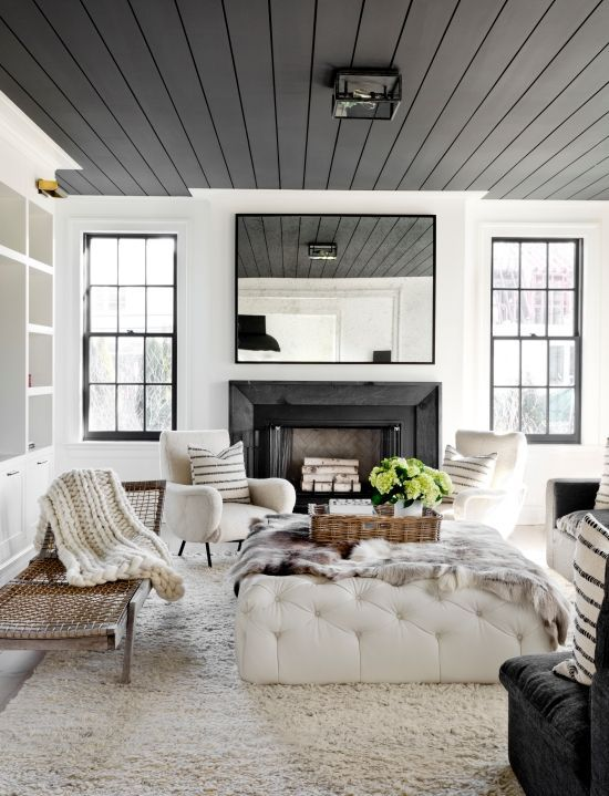 6 Paint Colors That Make A Splash On Ceilings Black And White Living Room Family Room Design House Interior