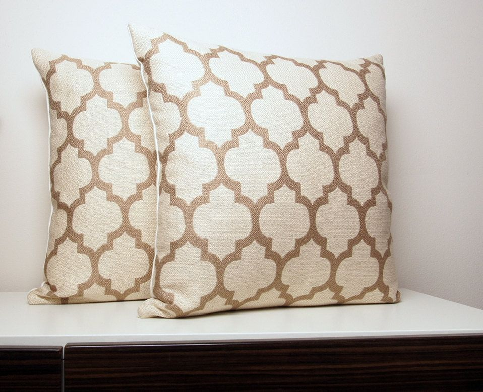 Sofa Cover Moroccan Pillows Cream Pillows Taupe Pillow Set by septemberHOME