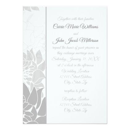 Gray Elegant Floral Vertical - Wedding Invitation - formal speacial - formal invitation style