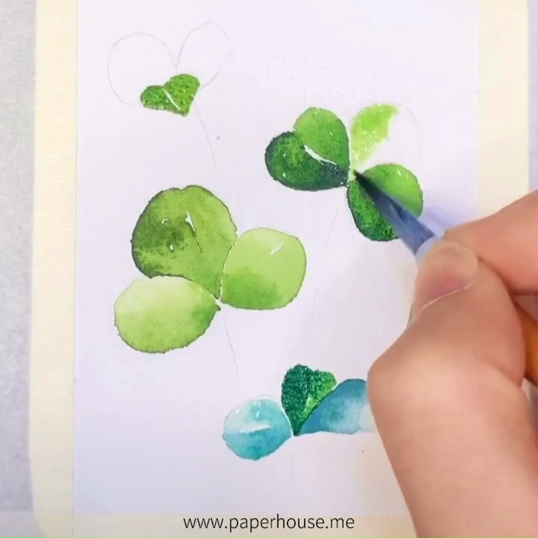 "Photo of Watercolor Clover Art👉www.paperhouse.me💝Save 10% OFF with code ""PIN10""💝Paperhouse Stationery"