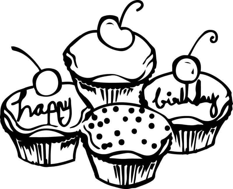 Birthday Cake Cupcakes Coloring Page | Kids printable ...