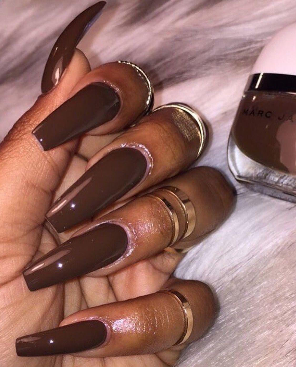 Follow Thelavishbee For More Interesting Pins Brown Acrylic Nails Dark Nails Brown Nails