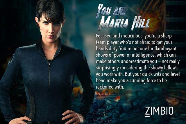 I took Zimbio's 'Avengers' quiz and I'm Maria Hill! Who are you? #ZimbioQuiznull - Quiz