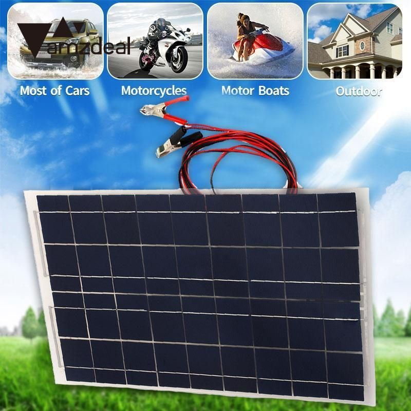 Diy 18v 30w Smart Solar Panel Car Rv Boat Battery Charger Universal W Alligator Clip Professional Home Travelling Gift Boat Battery Solar Panels Solar