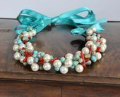 Turquoise Waves Beach Weddings Pearl Turquoise and Coral Necklace  Turquoise Waves Beach Weddings Pearl Turquoise and Coral Necklace  Turquoise Waves Beach Weddings Pearl...