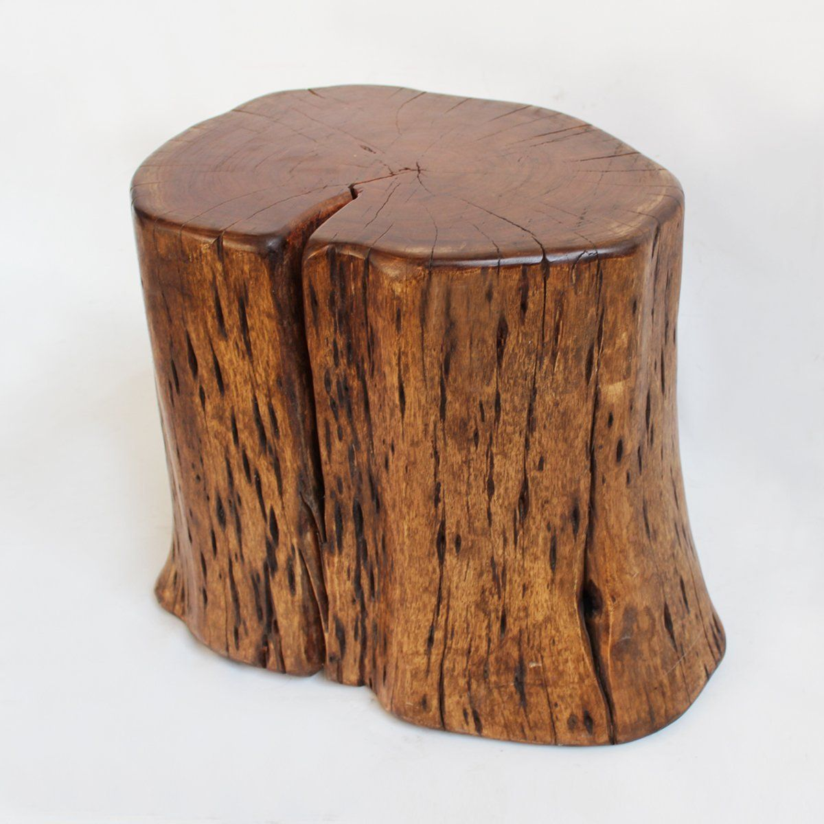 Polished Organic Kai Wood Stump Table Or Stool. Rich Wood Grain With Hard  Waxed Finish