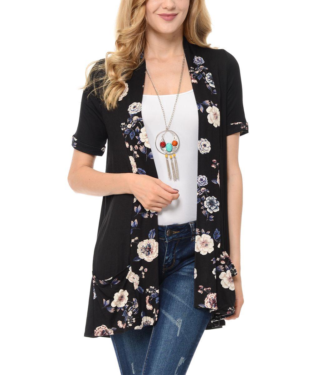 Black Floral Front-Pocket Open Cardigan