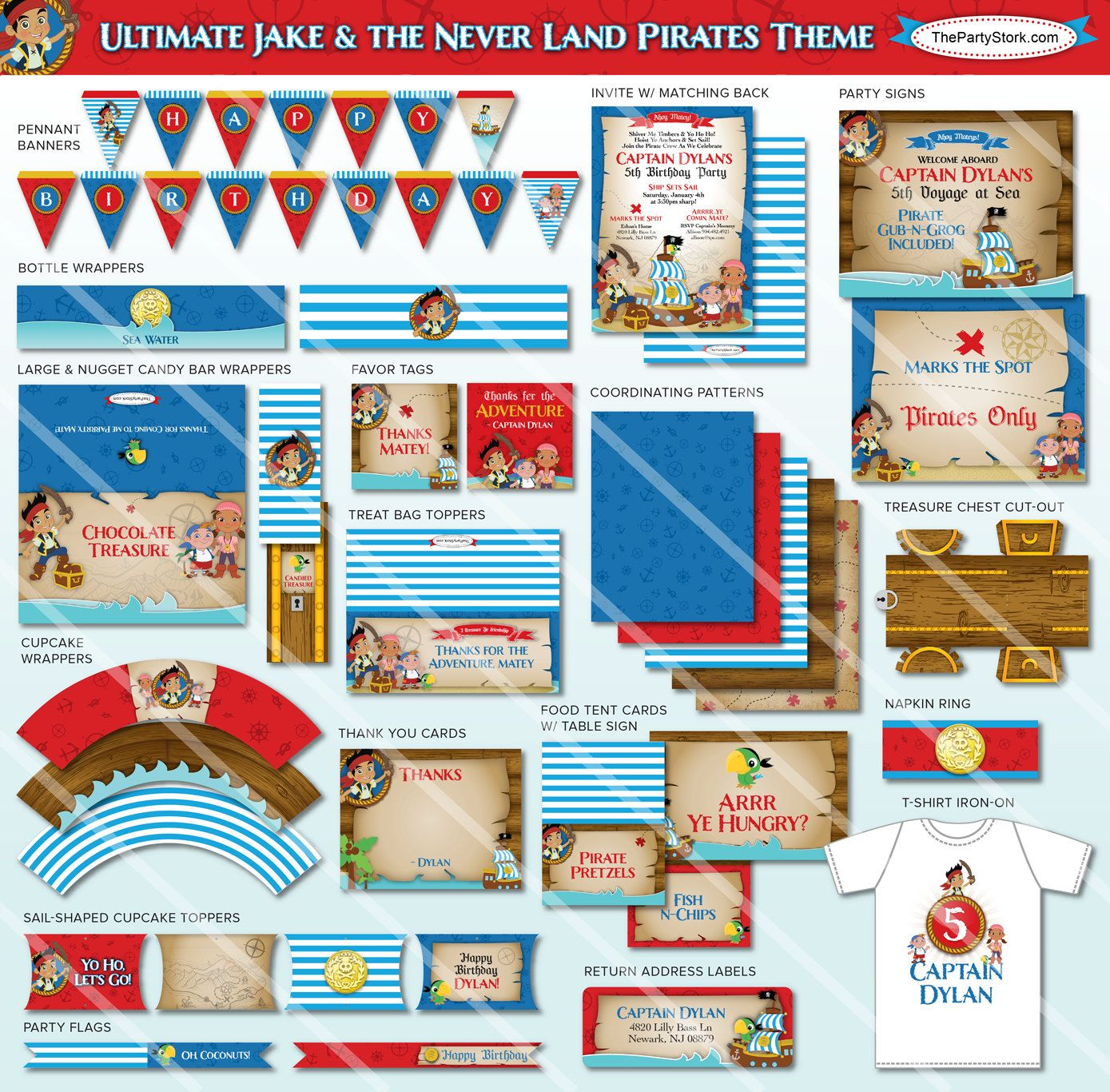 Jake and the neverland pirates treasure chest printable - Jake And The Neverland Pirate Invitations Jake And The Neverland Pirates Birthday Party Invites Printable Treasure Chest Envelope Diy