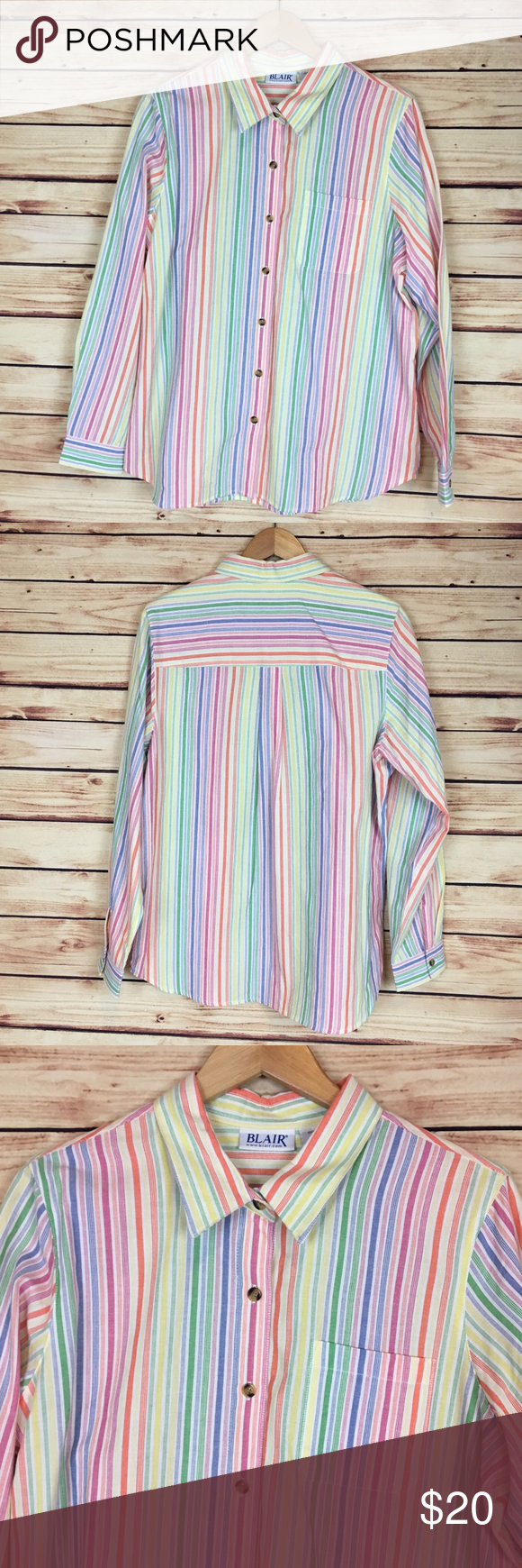 c13ca291a Blair Rainbow Button Down Shirt Vertical Striped L Blair button down blouse.  Rainbow vertical stripes. Long sleeve. Collared. Button front. Breast  pocket.