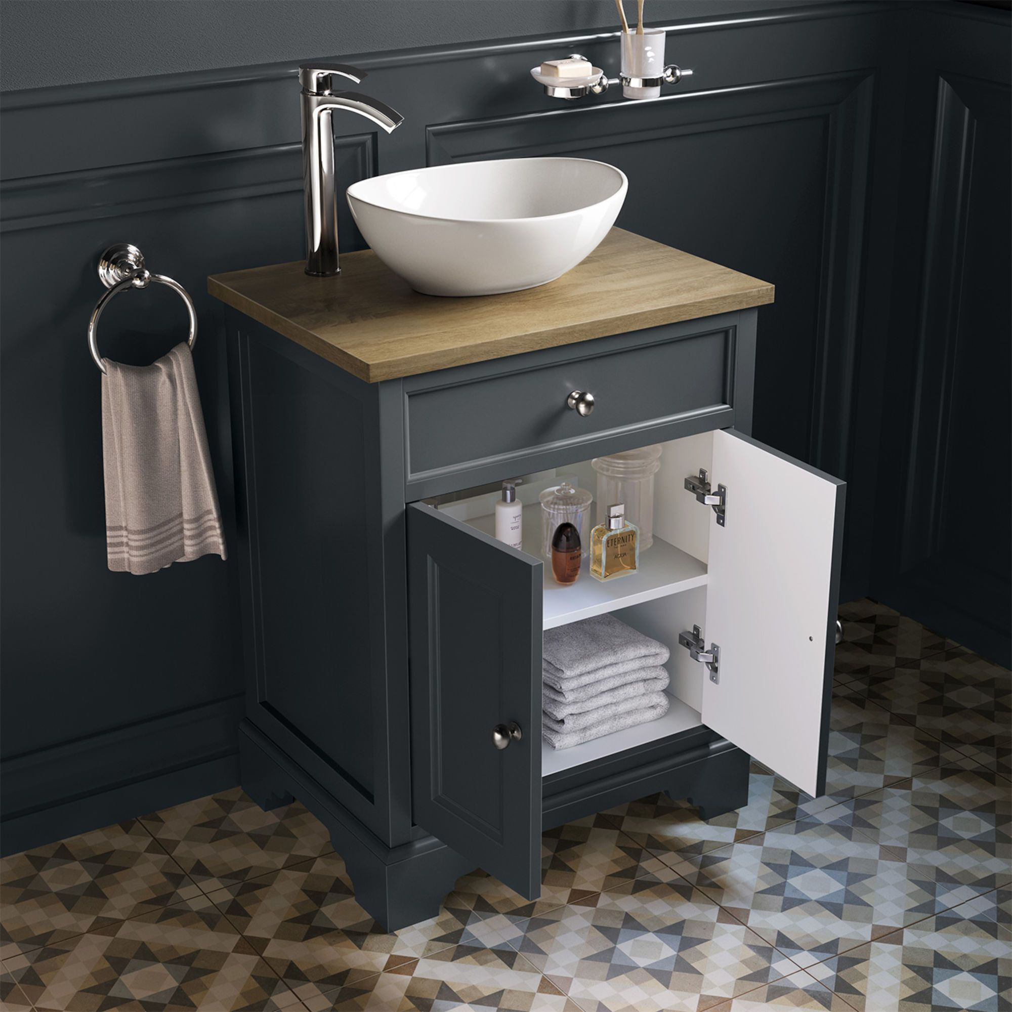 600mm Loxley Charcoal Countertop Unit Camila Basin Floor