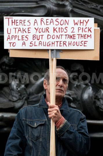 There's a reason why you take your kids to pick apples, but don't take them to a slaughterhouse.