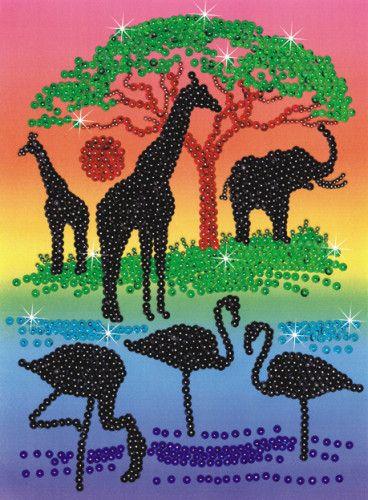 ::: Kids Craft Box - Silhouette Sequin Art - African Sunset :::