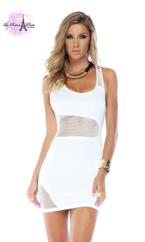 607b83e0f0 Vestido ajustado blanco con red