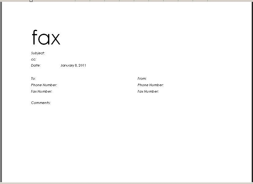 fax format - Google Search cc Pinterest Template - fax cover sheet in word