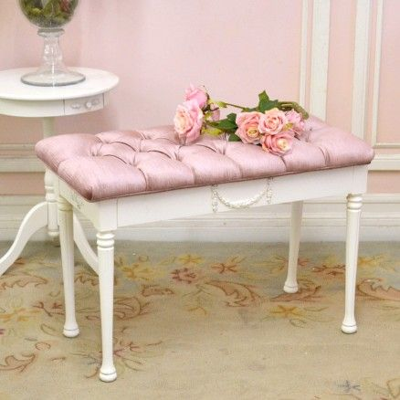 Plum Velvet Tufted Piano Bench with Roses $365.00 #thebellacottage #shabbychic #OOAK