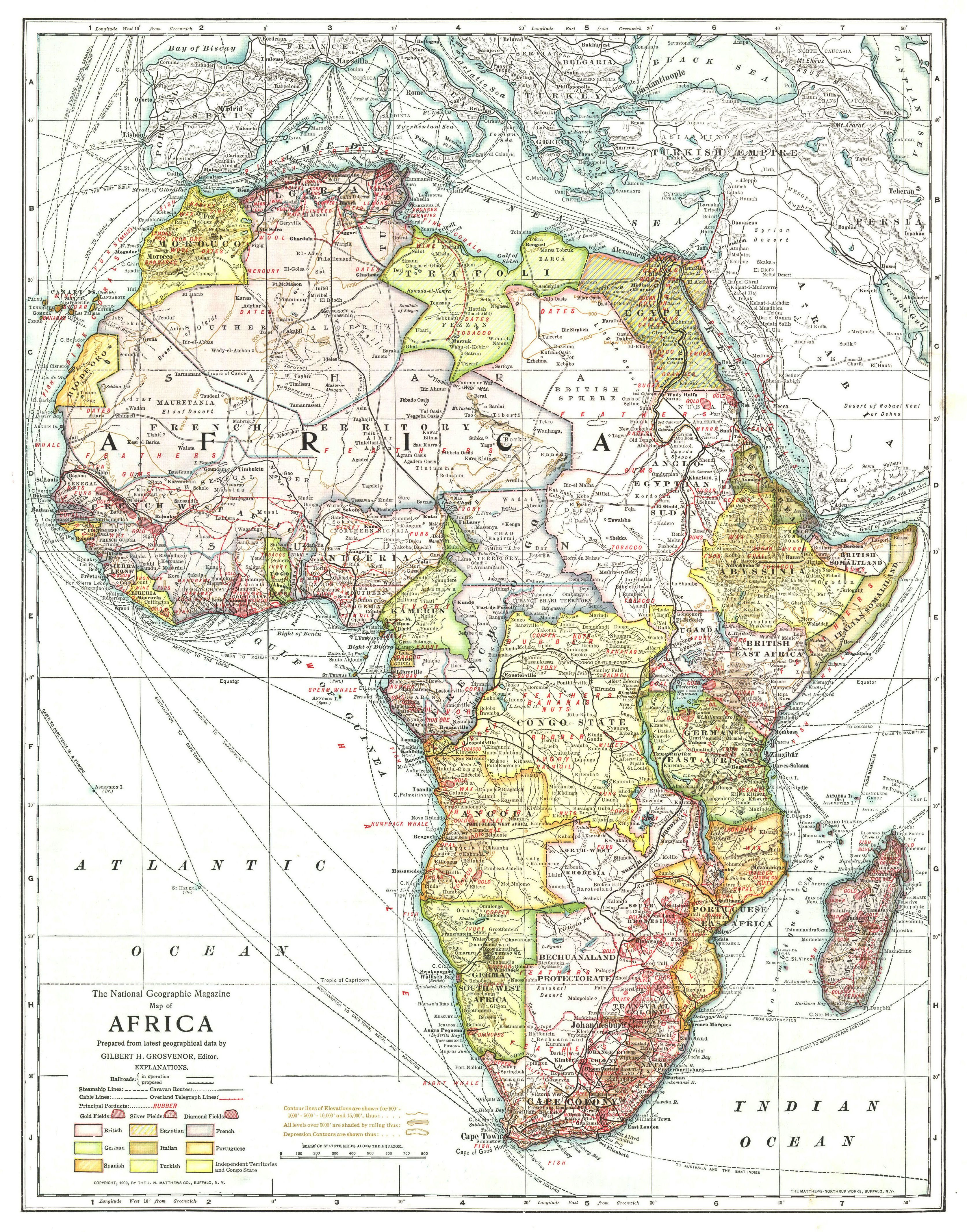 Map Of Africa National Geographic National Geographic Map of Africa (1909)   Africa map, African map