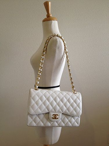 NWT Cruise  12 Chanel White Caviar Jumbo Gold Hardware Classic Flap ... 905a4d25d573d