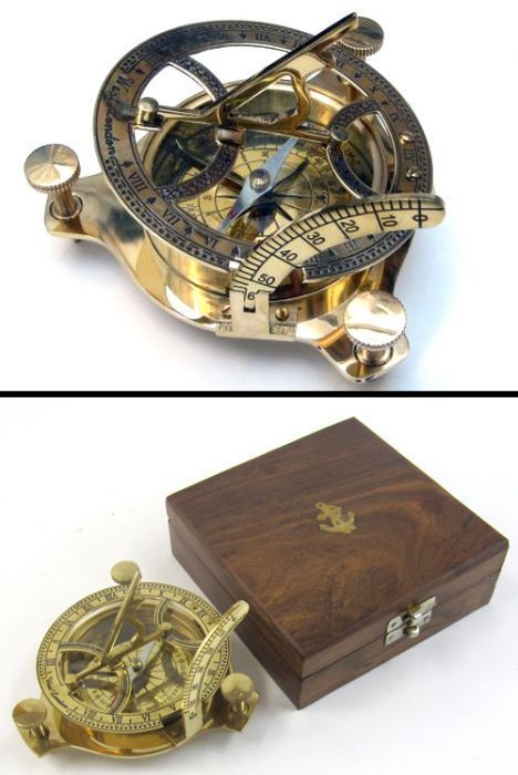 SUN DIAL COMPASS WITH WOODEN BOX