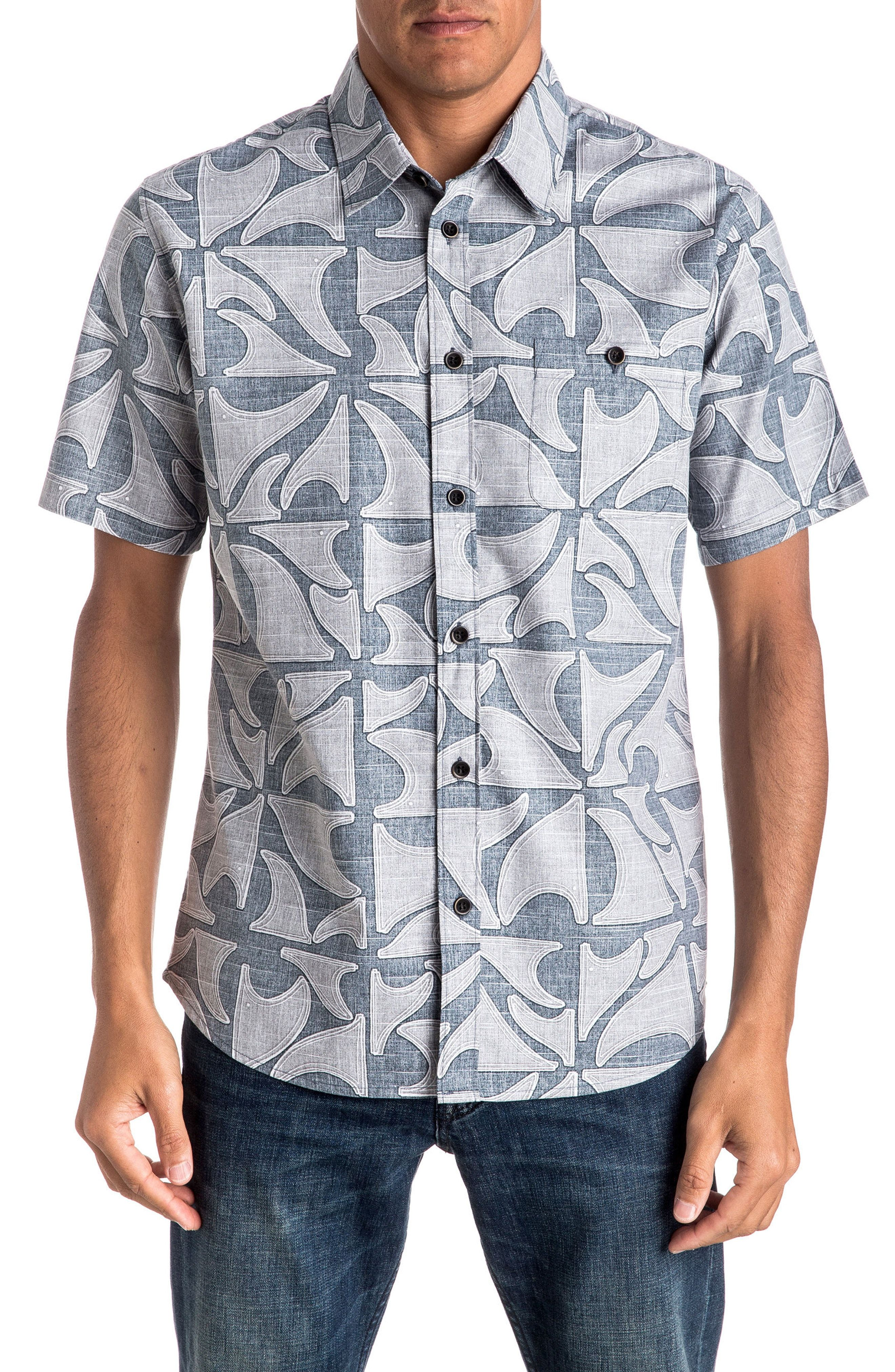 New Quiksilver Waterman Collection Finisteria Regular Fit Print Sport Shirt   9d02a51848c