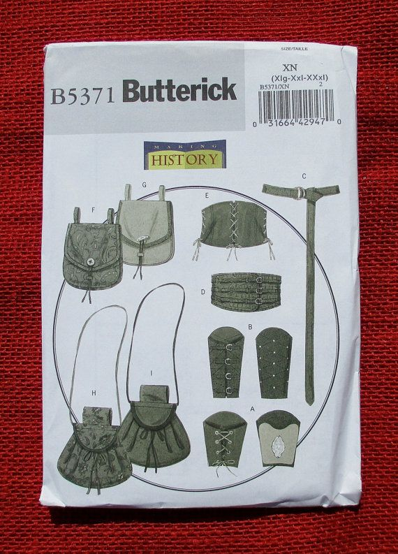 Butterick Sewing Pattern B5371 Historical Wrist Bracers, Corset ...