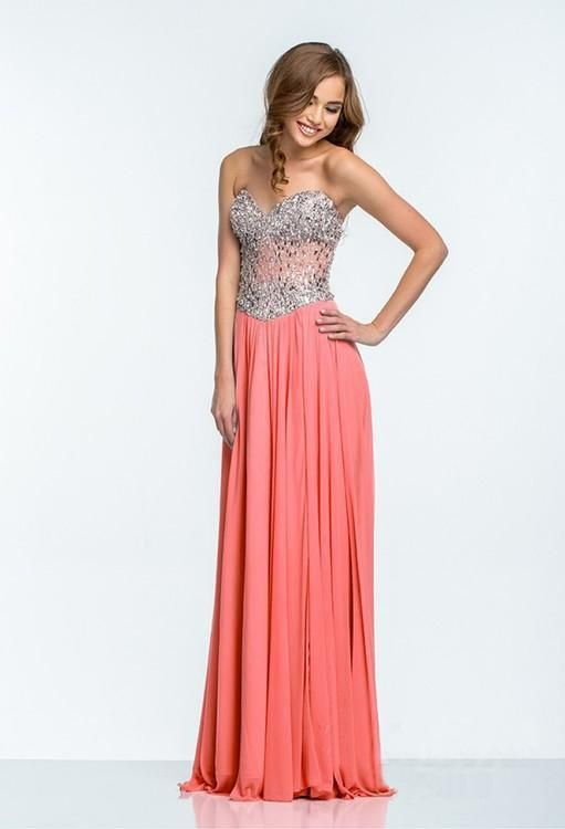 Sequins & Beads Brick Tulle Split Evening Prom Gown - Promfy