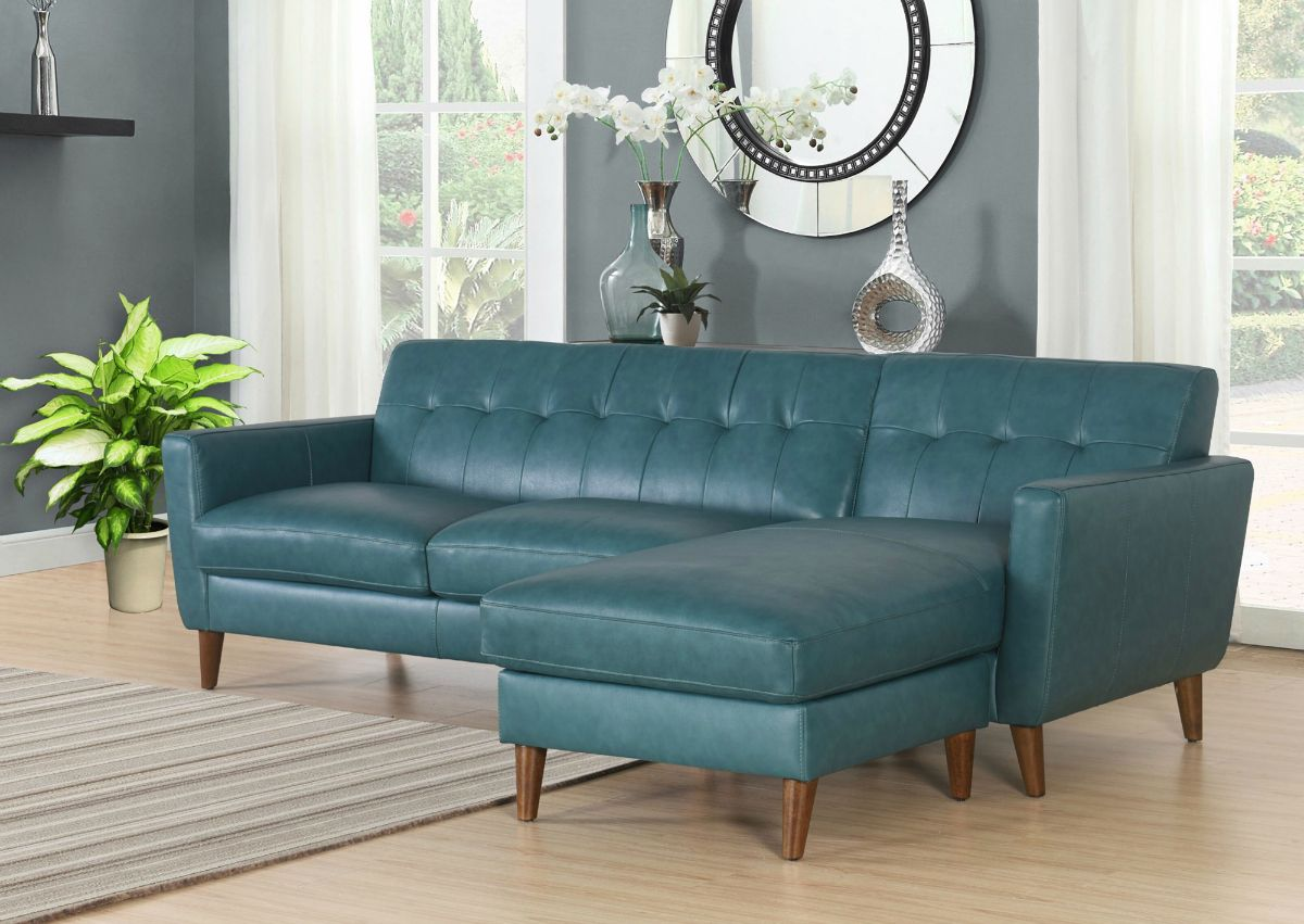 A Mid Century Sofa In Ocean Blue Top Grain Leather Who Wouldn T Love This Exquisite Leather Sectional Leather Sectional Sofa Top Grain Leather Sectional
