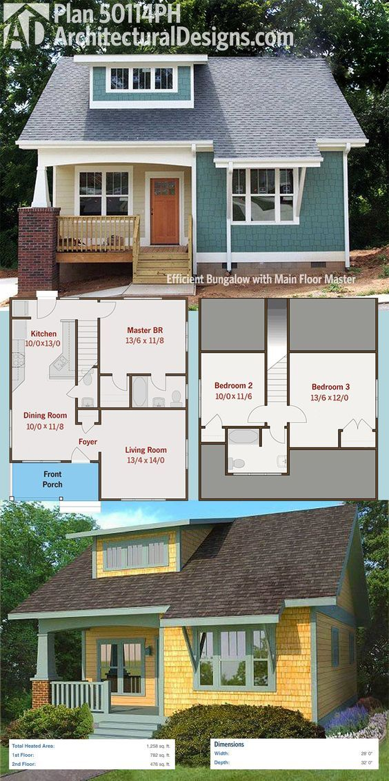 Plan 50114ph Efficient Bungalow With Main Floor Master Craftsman House Plans Bungalow House Plans House Plans