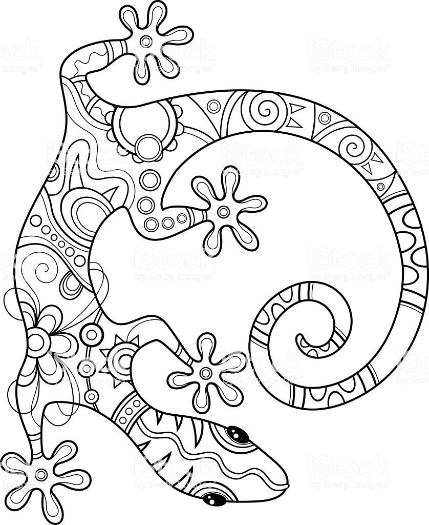 Vector Tribal Decorative Lizard Patterned Design Tattoo In 2020 Animal Coloring Pages Coloring Pages Gecko Wall Art