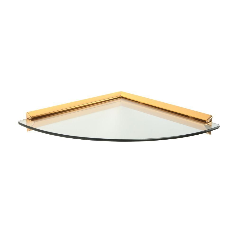 Knape Vogt 12 In X 12 In Brass Glass Corner Decorative Shelf