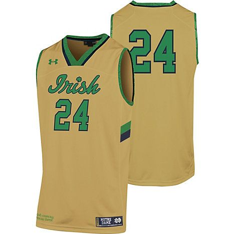 pretty nice 00dee bafee Under Armour Notre Dame Basketball #24 Replica Gold Jersey ...