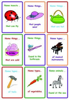 Free Categories Card Game Name Things That Speech Language Therapy Speech Therapy Activities Speech Activities