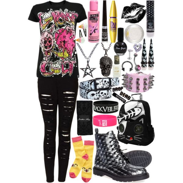 Pink, Lavender, & Black ; Scene/Emo Outfit | My Polyvore ...