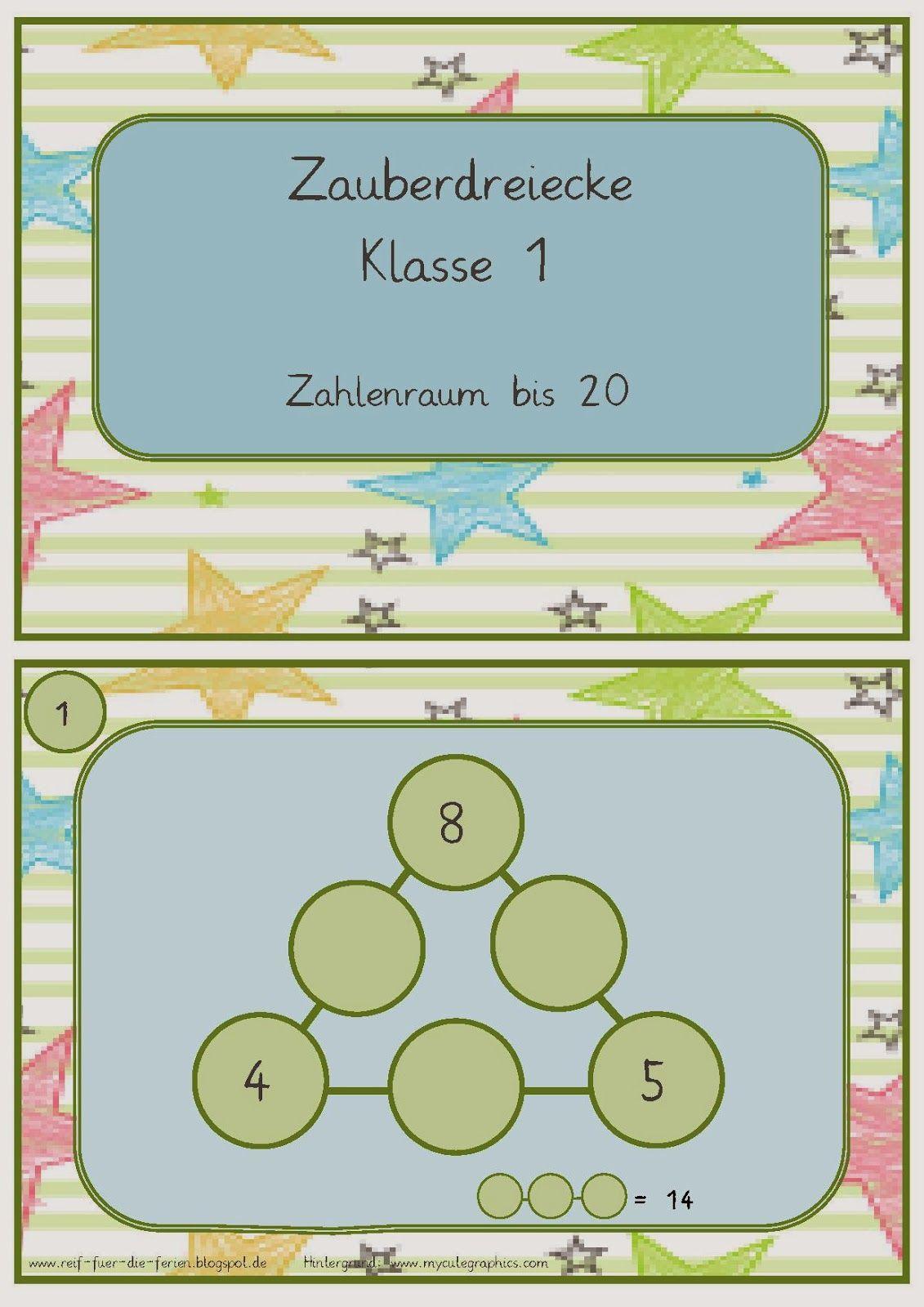 Zauberdreiecke im Zahlenraum bis 20   Reif für die ferien, Mathe ...