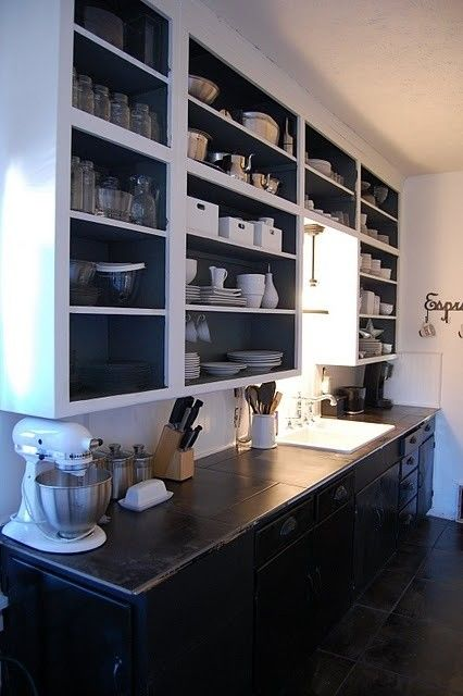 Open Faced Cabinets Diy Kitchen Cabinets Eclectic Kitchen