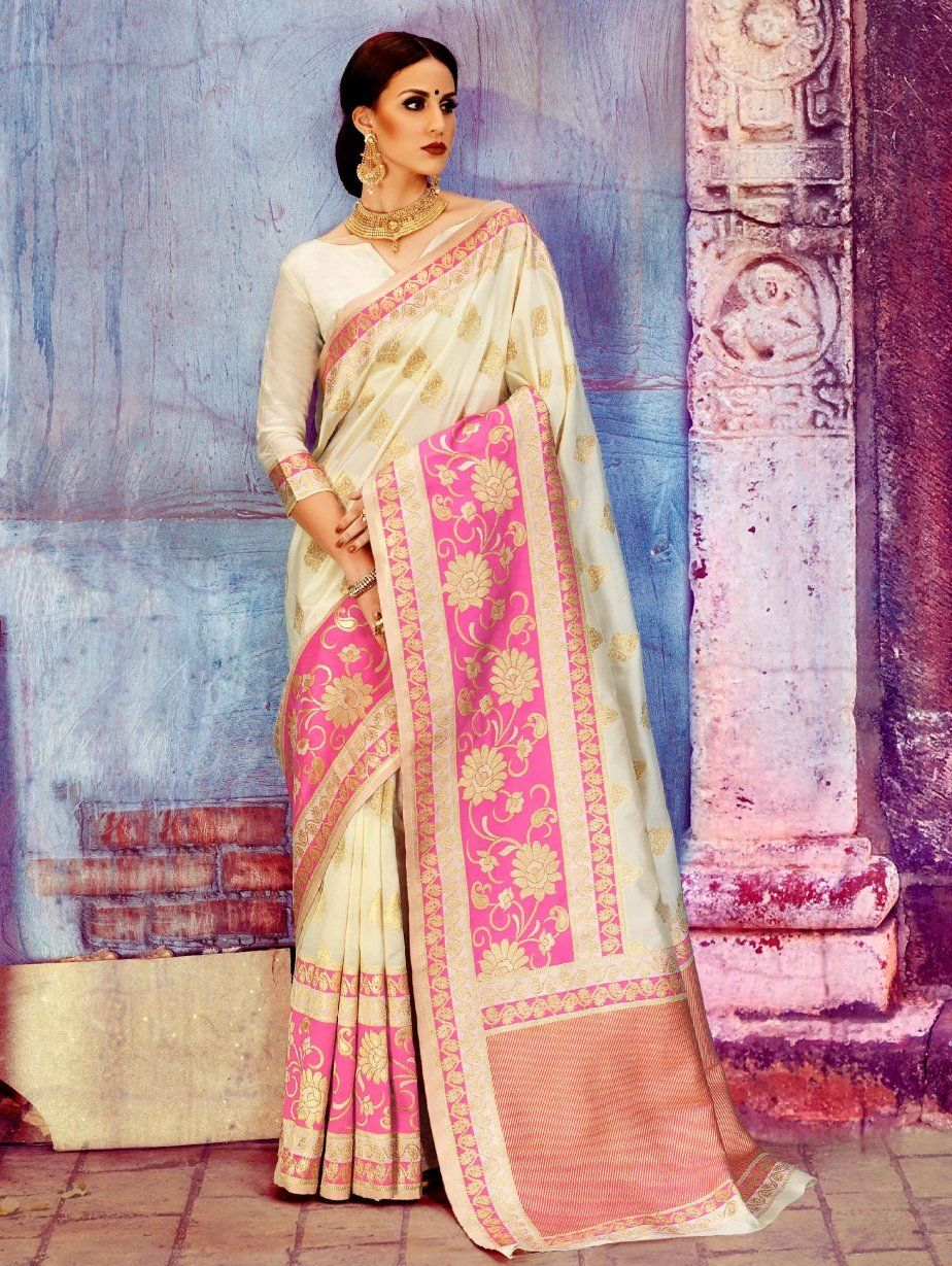 Images of saree cream and pink silk saree with weaving  indian styles  pinterest