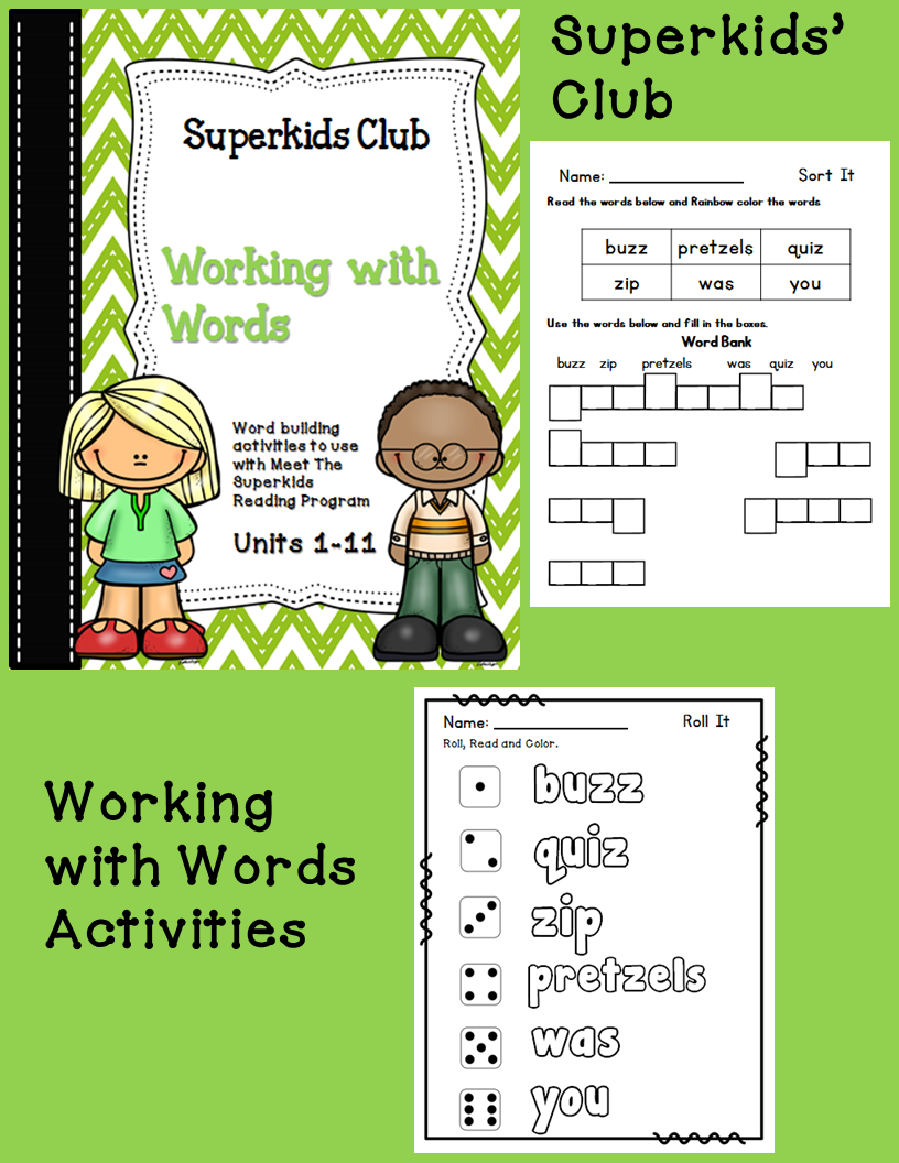 Worksheets Superkids Reading Worksheets the superkids club kindergarten literacy centers units 21 24 working with words practice worksheets as your students begin process of blending sounds into followi