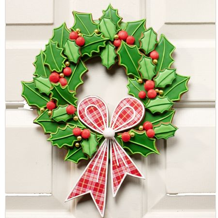 Boughs of Holly Cookie Wreath from FancyFlours. Oh @Brittanie Reed and @Wendy Fitt, this is calling your name!