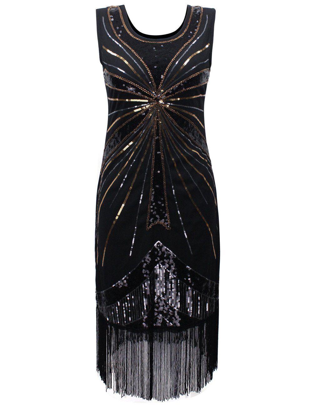 Kleid schwarz mit fransen