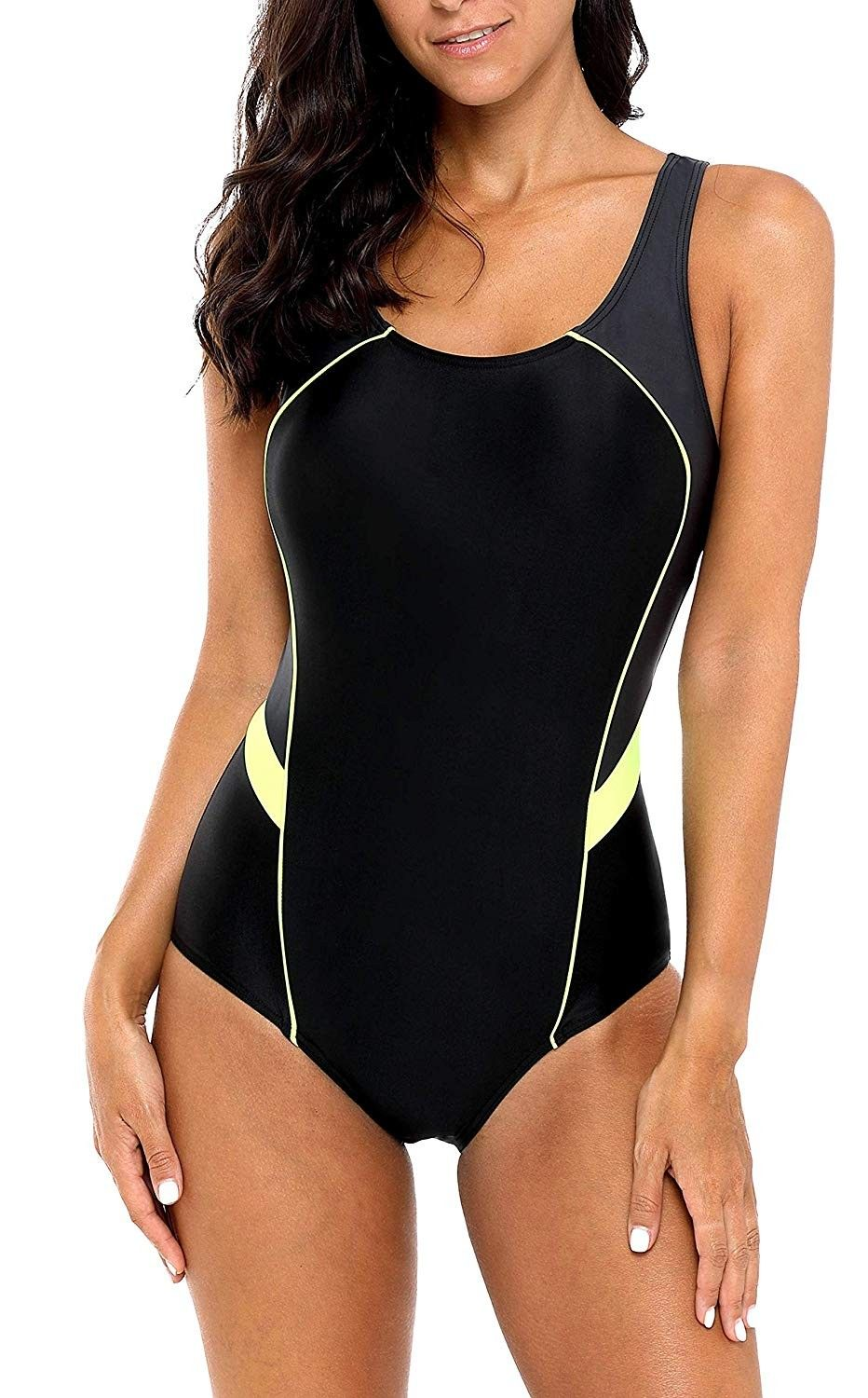 Women's Athletic One Piece Swimsuits Racerback Competitive Bathing Suit - Black-yellow - C118KCK2DSK...