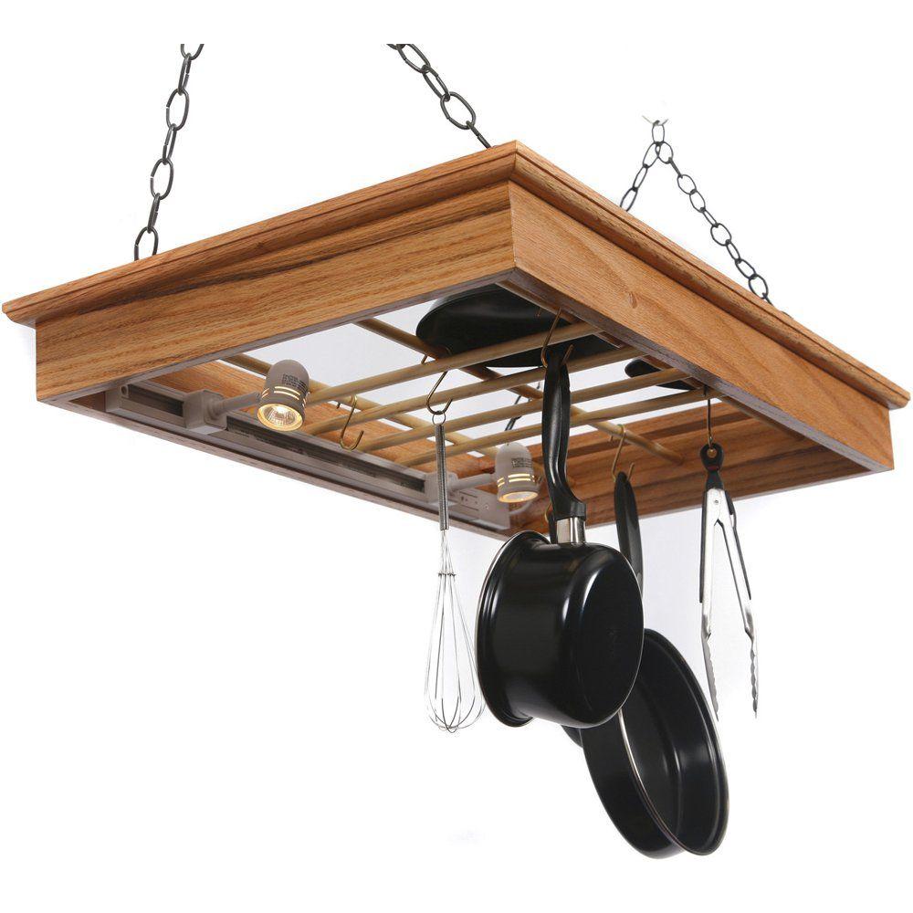 Amazon Com Hanging Pot Rack With Lights Kitchen Pot Racks Pot Rack Hanging Pot Rack Hanging Pots