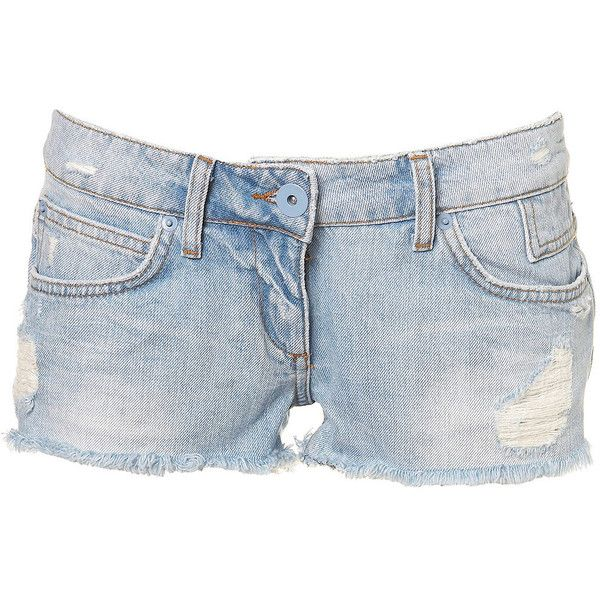 Ripped Denim Shorts ($42) ❤ liked on Polyvore featuring shorts, bottoms, pants, jeans, short, kate moss, distressed jean shorts, short shorts, short jean shorts and distressed denim shorts